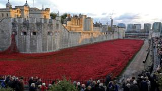 Thousands of ceramic poppies were used to form the art installation at the Tower of London in 2014