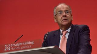 Lord Falconer makes a speech at the Labour Party Conference in 2015.