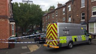 Police tape near crime scene