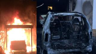 A composite picture of Ferat's Kocak's car which was set on fire in 2018. Composite shows the car before and after it was burned