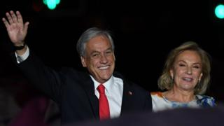 Piñera durante el evento de victoria en las elecciones presidenciales de 2017 en Chile.