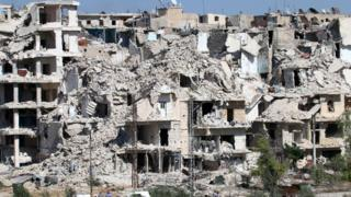 Ruined buildings in neighbourhood of Bani Zeid, on Aleppo's northern outskirts on July 29, 2016