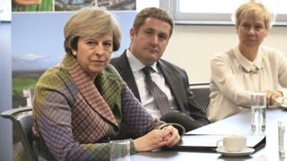 Prime Minister Theresa May meets local business leaders at Ski-Tech in Daresbury