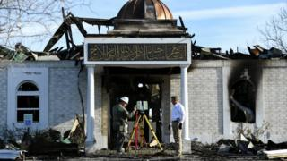 The Islamic Center of Victoria after a fire.