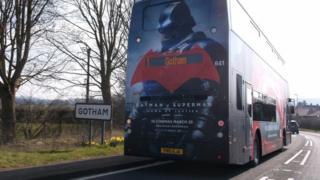 Batman advert on back of a bus in Gotham