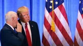 Дональд Трамп и вице-президент США Майк Пенс. 11 января 2017, Нью-Йорк