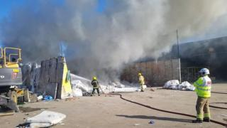 Waste fire in Marchwood