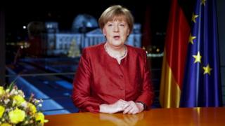 German Chancellor Angela Merkel records her New Year's speech in the Federal Chancellery in Berlin, Germany, 30 December 2015