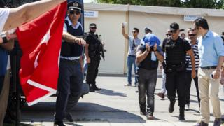 Turkish military officer transferred to a court in the city of Alexandroupolis, northern Greece on Thursday, July 21, 2016