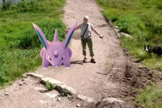 Heather Morning and Pokémon Go creature in Cairngorms