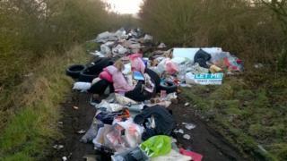Rubbish dumped on a bridleway