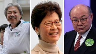 香港特首選舉候選人(左起):曾俊華、林鄭月娥和胡國興