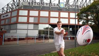 Team England Bahamas 2017 Commonwealth Youth Games rugby sevens player Tom Fawcett at Villa Park