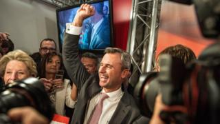 Freedom Party presidential candidate Norbert Hofer at party HQ after results (Vienna, 24 April)