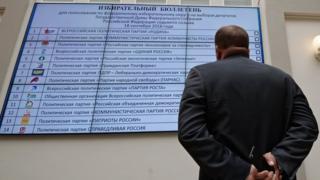Мужчина изучает изображение предвыборного бюллетеня для выборов в Госдуму-2016 на плазменном экране