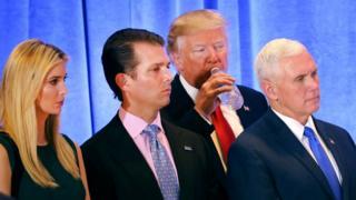 Ivanka, Eric, Donald Trump and Mike Pence