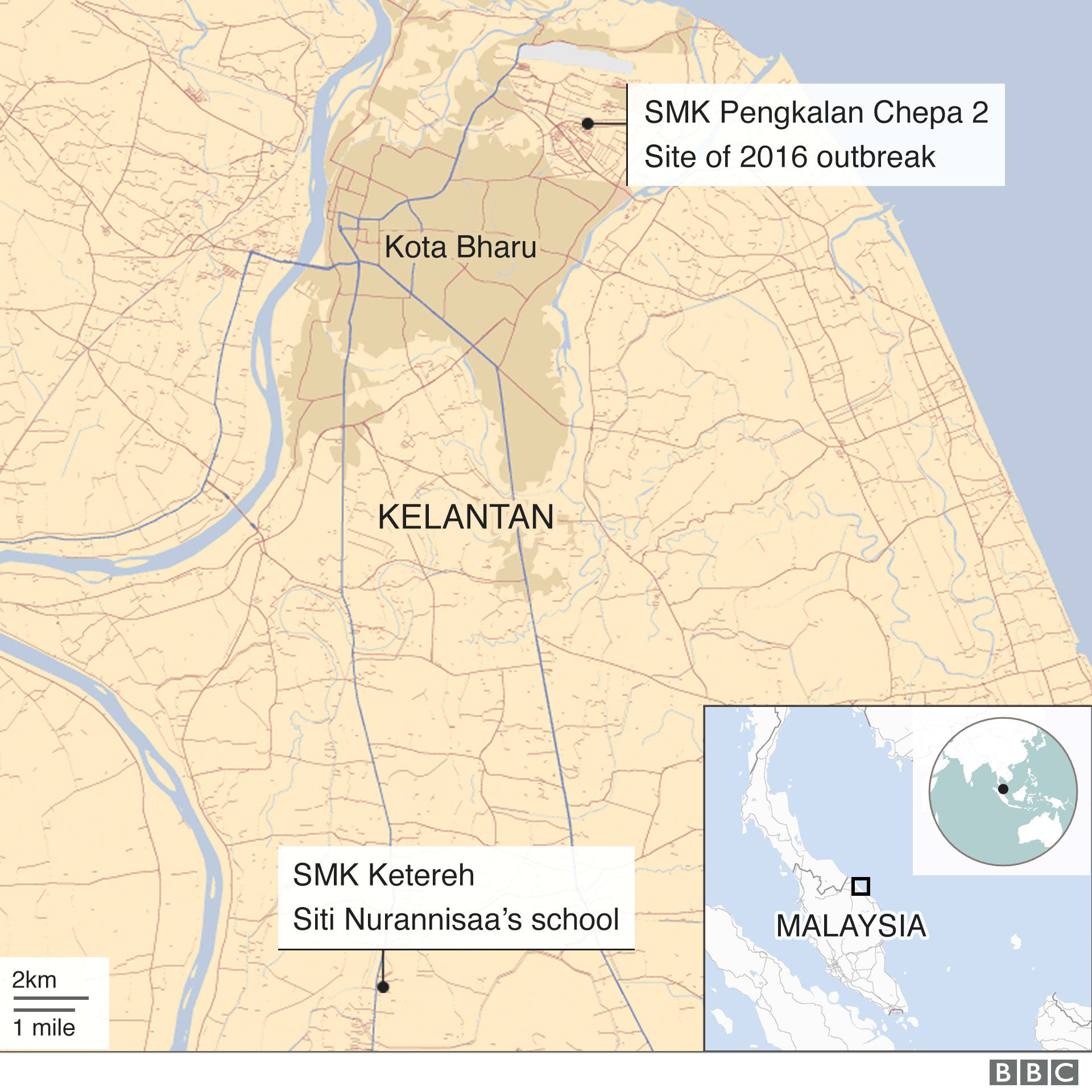 A map of Kelantan and its towns
