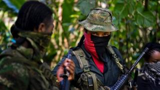 Photo showing an ELN rebel commander during an interview with AFP in Alto Baudo