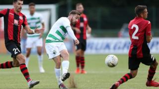 TNS' Jon Routledge in action against Lincoln Red Imps