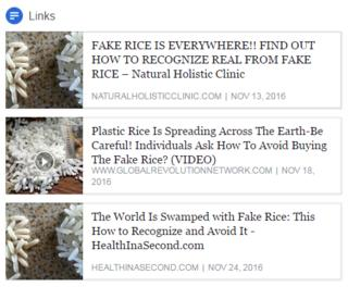 A list of fake rice stories from a search on Facebook