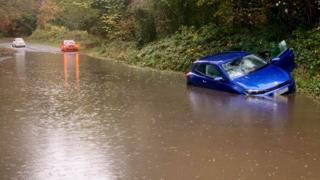 Northern Ireland Flooding on Finnebrogue Road near Downpatrick