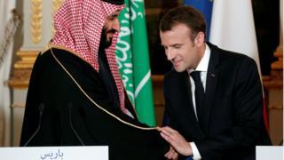 Shugaban Faransa Emmanuel Macron sun halarci taron manema labarai tare da yarima Mohammed bin Salman a fadar Elysee Palace ia ranar 10 ga watan Afirilu 2018