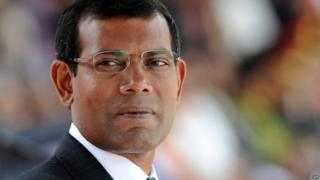 Mohamed Nasheed attends a military parade in the central Sri Lankan town of Diyatalawa - 27 December 2011