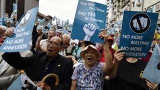 11月20號,支持台獨的團體舉行示威活動。