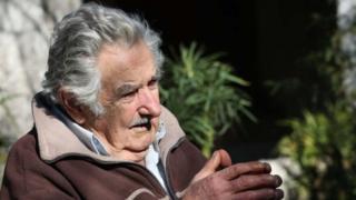 "Former Uruguayan President Jose Mujica speaks with Barcelona""s Deputy Mayor, Argentinian Gerardo Pisarello (not pictured), in Montevideo, Uruguay, 06 August 2018"