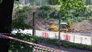 Bulldozer digging at site of rumoured Nazi train in Poland, 16 Aug 16