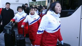 North Korea's women's ice hockey players