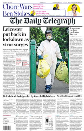 Telegraph front page 30.06.20