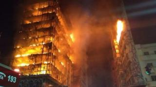 Sao Paulo building on fire prior to collapse