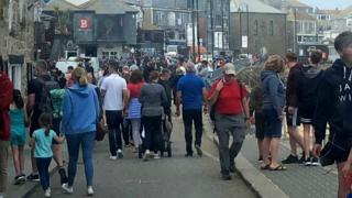 Crowded harbour area in St Ives