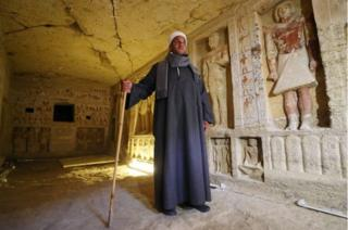 Mustafa Abdo is the project's chief of excavation. The tomb is 10m (33 ft) long, 3m (9.8ft) wide, and a little under 3m high