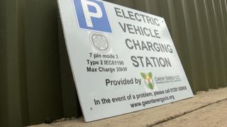 An electric charge point sign