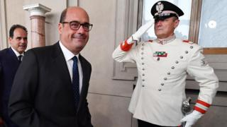 Democratic Party (PD) leader Nicola Zingaretti (C) leaves after a meeting with Italian President Mattarella