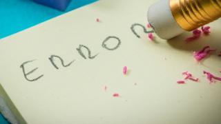 Error escrito en lápiz