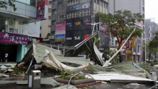 Fallen roof on street corner in Taipei - 8 August