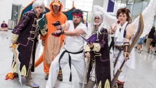 Five gamers dressed as characters