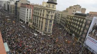 The day of action drew big crowds in Barcelona and other major Catalan cities