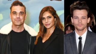 Robbie Williams, Ayda Field and Louis Tomlinson