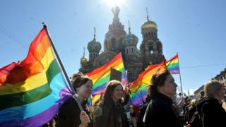 Gay rights activists march in Russia's second city of St Petersburg on 1 May 2013