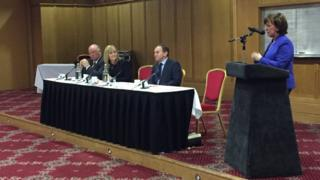 The panel at a DUP breakfast in Belfast on Wednesday morning