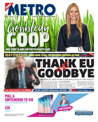 Friday's Metro front page