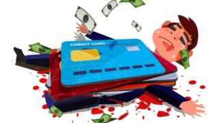 A cartoon of a man crushed under his credit cards