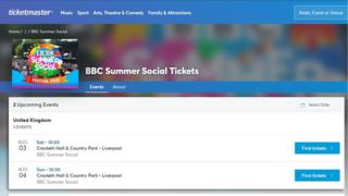 Screengrab of Ticketmaster website