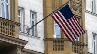 The US flag hangs outside a building of the US embassy in Moscow, Russia, 28 July 2017
