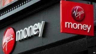 Close up of Virgin Money logos on branch