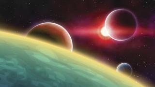Ilustração de planetas orbitando estrela parecida com o Sol
